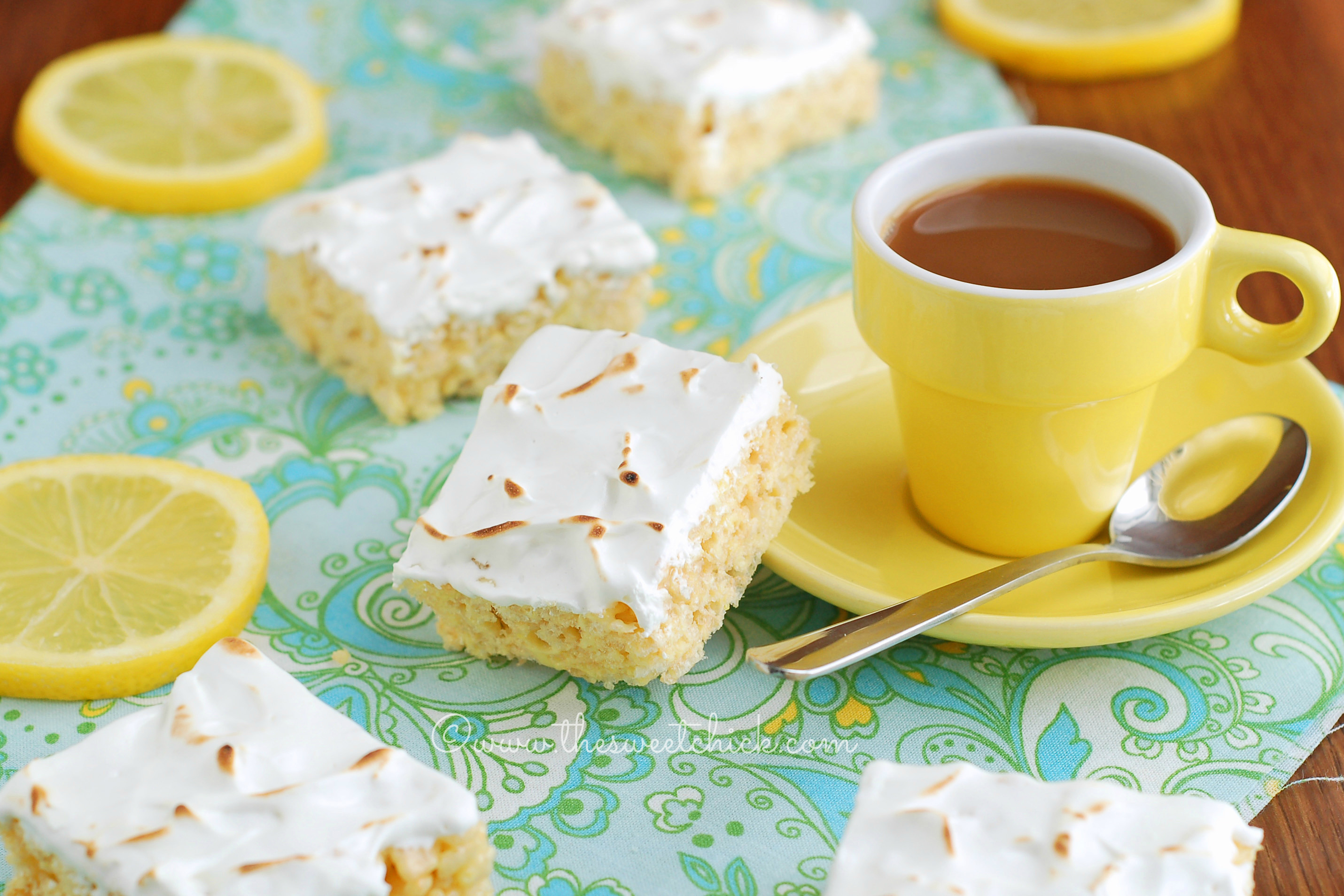 Lemon Meringue Rice Krispies Treats