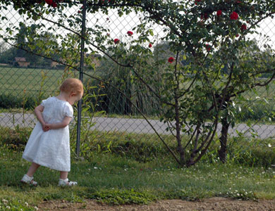 Julia Walking By Garden