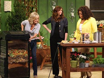 Oprah and Julia Roberts Composting on Earth Day