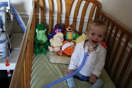 Parker in his crib