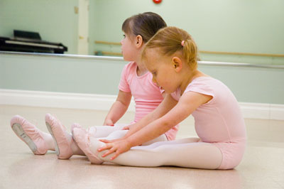 Julia Stretching on First Day of Ballet