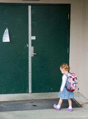 Julia at the School Door