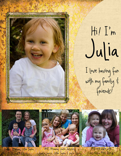 Julia Scrapbook Page by Butternug Squash