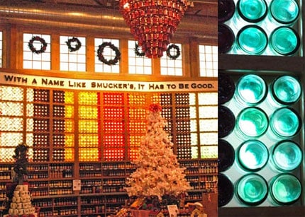 Smucker's Glass Jam Wall and Chandelier