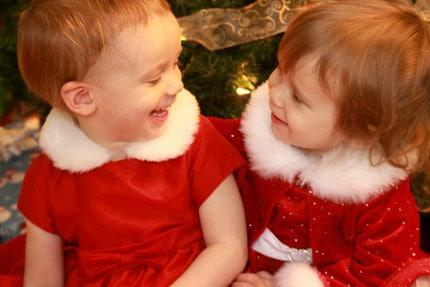 family Christmas photos - Olivia and Sophia