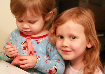 Sophia with Big Sister Julia By Her Side