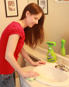 Janice Cleaning Her Bathroom