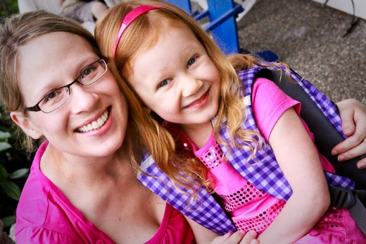 Julia with Mommy First Day of Kindergarten
