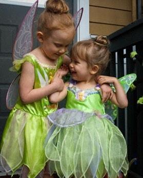 Julia and Sophia dressed as Tinkerbells