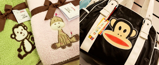 Baby Blankets and Paul Frank Diaper Bag at T.J. Maxx