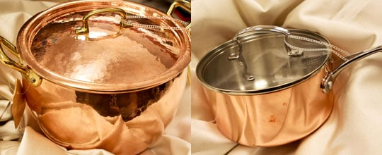 Ruffoni Copper Pan w Brass Handles - Made in Italy $199.00, Hotel Copper Tri-Ply Saucepan $34.99 at T.J. Maxx