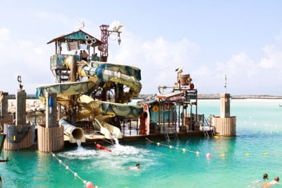 Jackson riding the Pelican Plunge at Castaway Cay