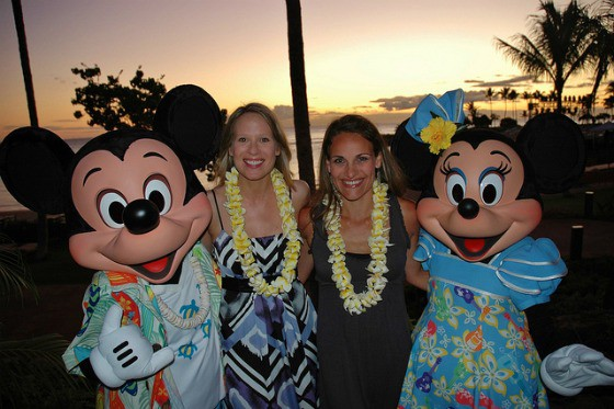 Christine and Susan with Mickey and Minnie in Hawaii