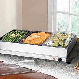 Brylane Home Non-Stick Triple Buffet Warmer