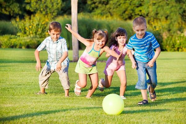 kids exercising outside