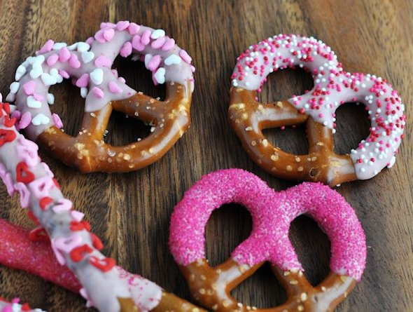 pink dipped decorated pretzel twists