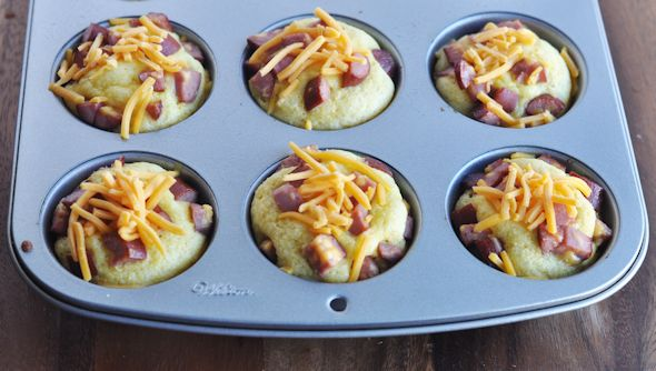 cornbread muffins with hot dogs cheese