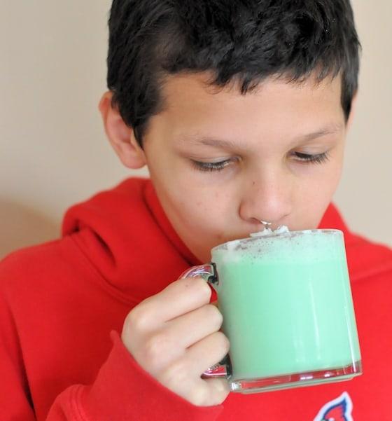 sipping green milkshake