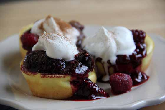 Mini Popover Pancakes with Mixed Berry Sauce