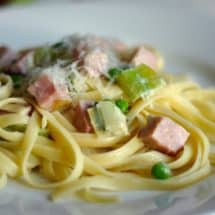Spring Fettucine with Ham and Leeks