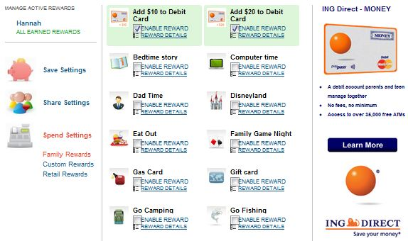 My Job Chart ING Direct Money Debit Card