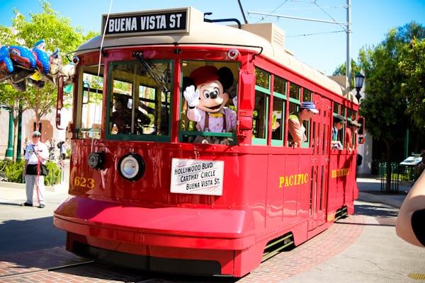 red car trolleys at Disneyland