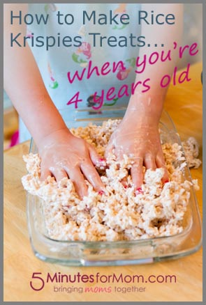 How to make rice krispies treats when you 39 re four years old for How do you make rice crispy treats