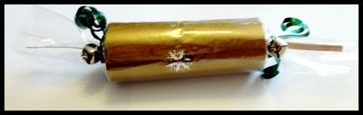 a finished homemade Christmas cracker