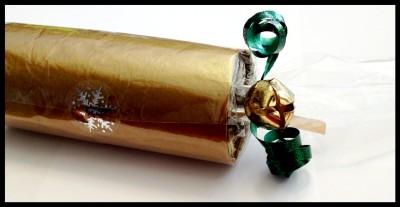 sealed end of homemade Christmas cracker
