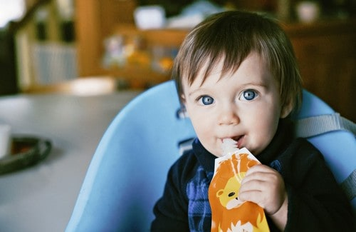 Image result for baby eating food pouches