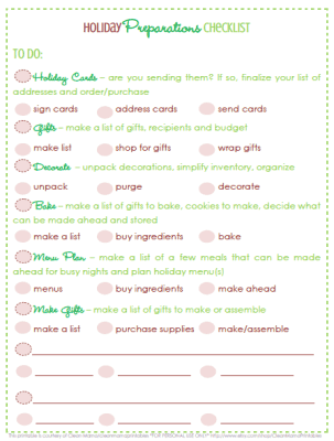 holiday preparations checklist pic