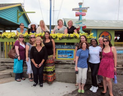 "bloggers around the ""Safe Haven"" sign in Southport, NC"