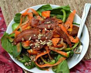 Spinach, Sweet Potato and Bacon Salad