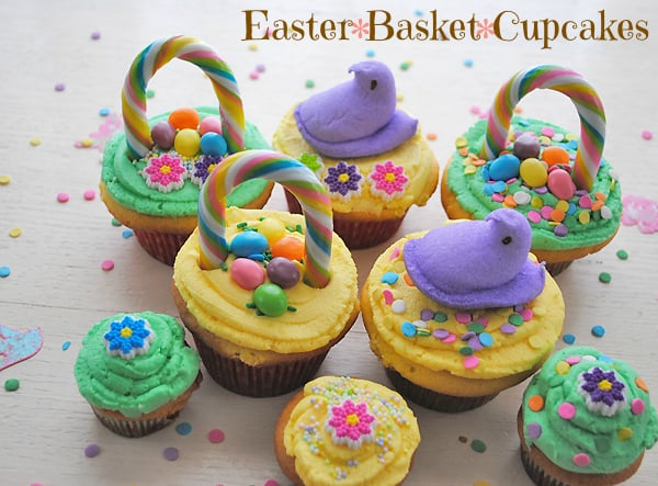 While out on a recent shopping trip I found the most adorable candy handles for creating these cupcakes. I couldnu0027t resist making a batch and decorating ... & How to Make Easter Basket Cupcakes - 5 Minutes for Mom