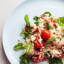 Lemony Orzo, Roasted Tomato and Arugula Salad