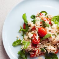 Lemony Orzo, Roasted Tomato & Arugula Salad