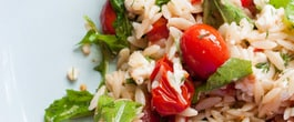 Thumbnail image for Lemony Orzo, Roasted Tomato & Arugula Salad