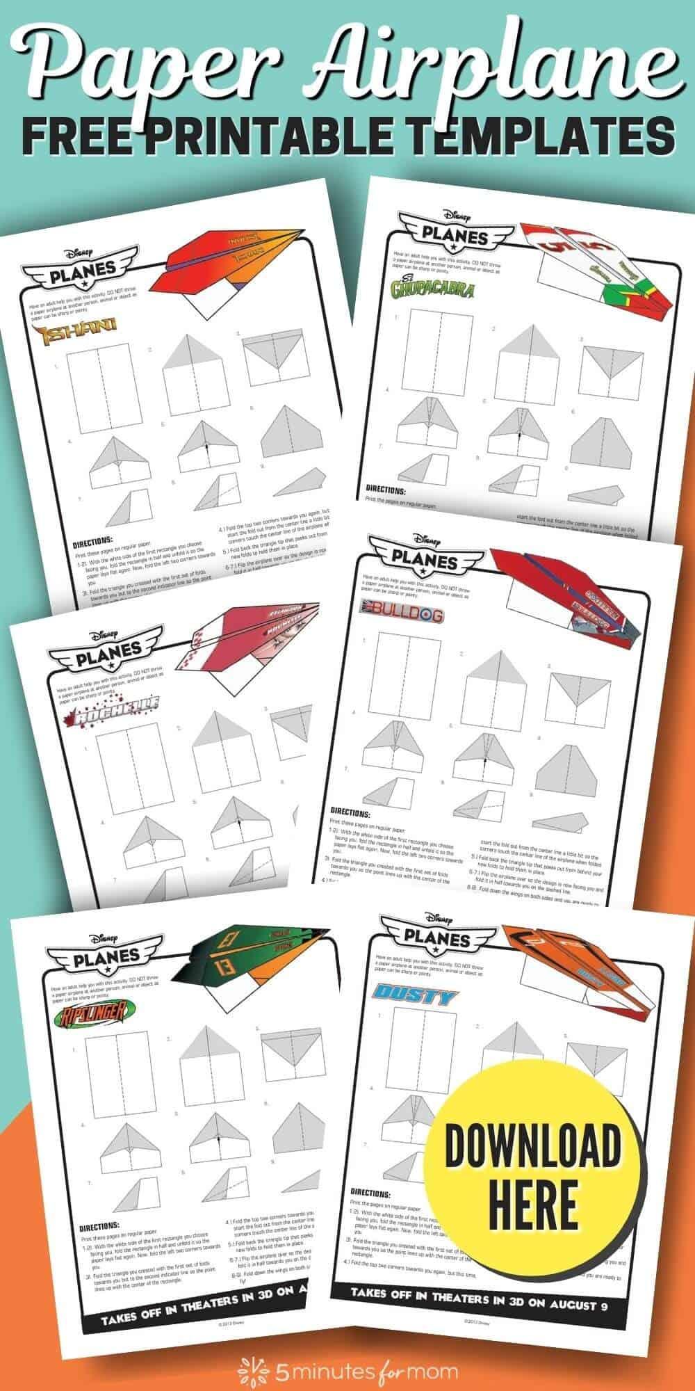 Paper Airplane Free Printable Templates - Disney Planes