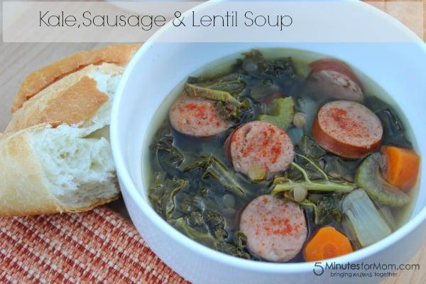 Kale sausage and lentil soup