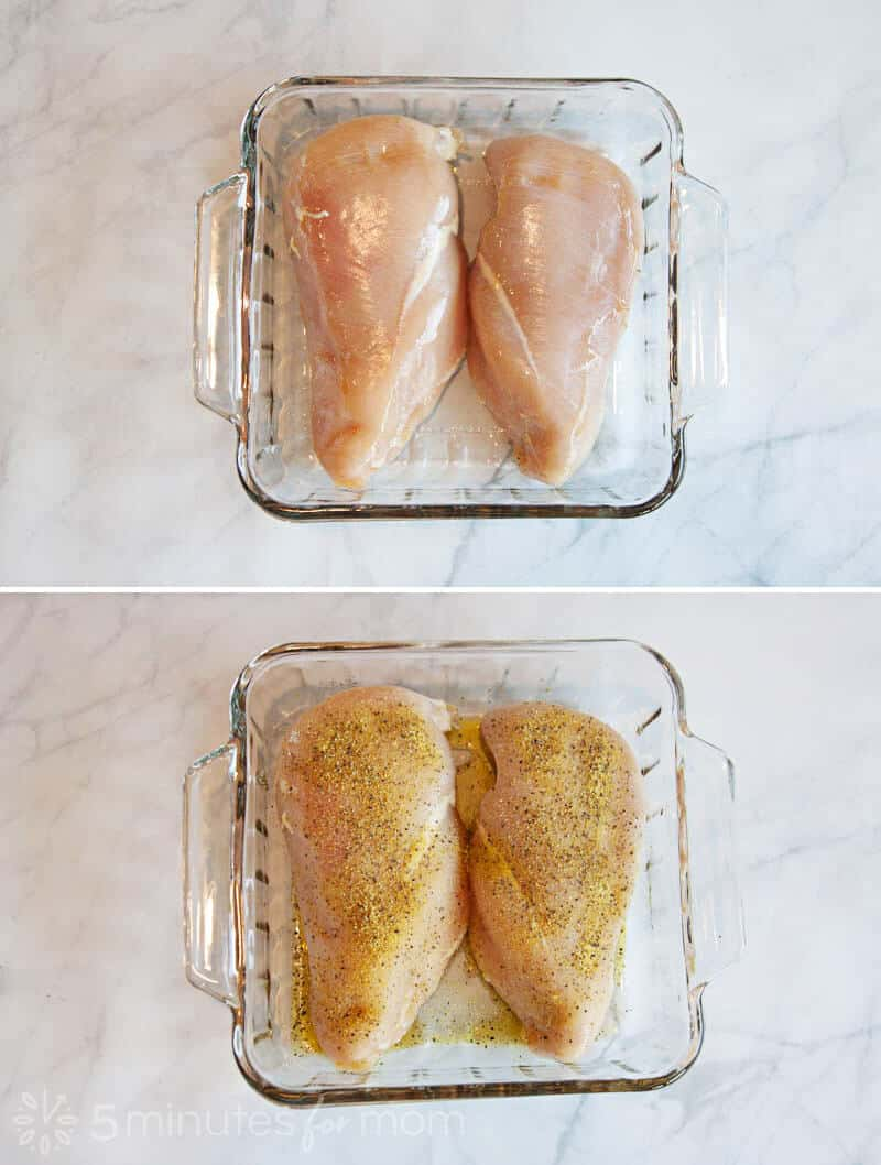 raw chicken breasts in a glass baking pan