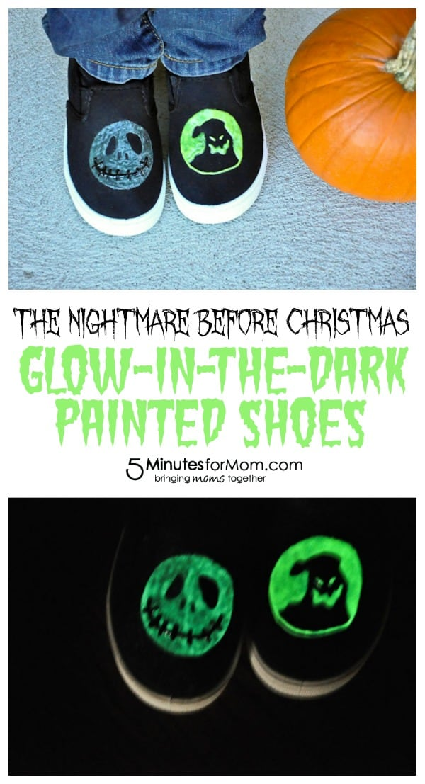 The Nightmare Before Christmas Glow-in-the-Dark Painted Shoes for 5 Minutes for Mom