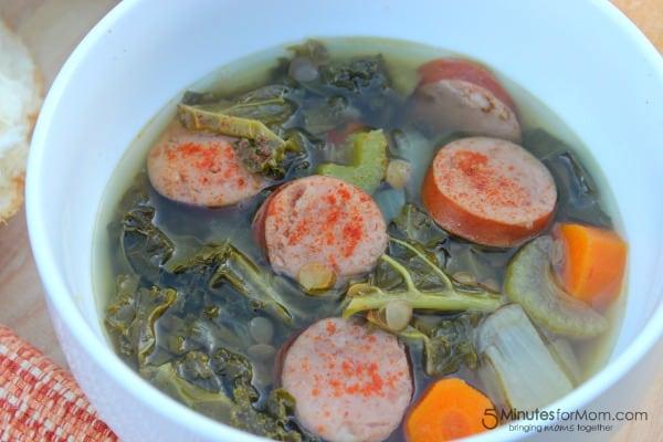 kale lentil and sausage soup
