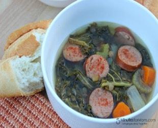 Slow Cooker Kale Sausage & Lentil Soup