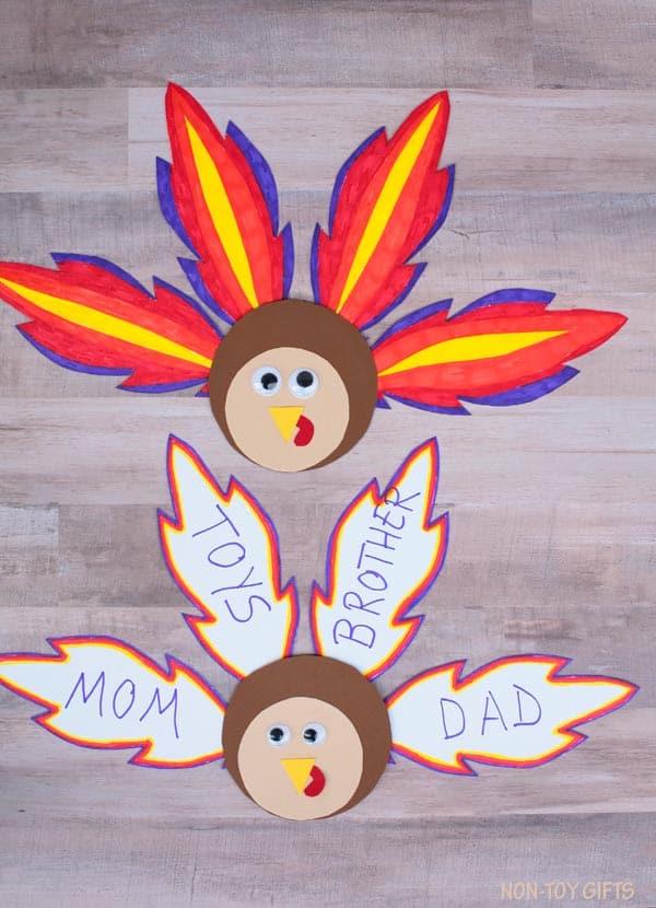 Feather turkey craft - Thanksgiving Activities for Children