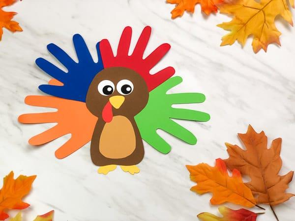 Turkey craft handprint - Thanksgiving Crafts for Kids