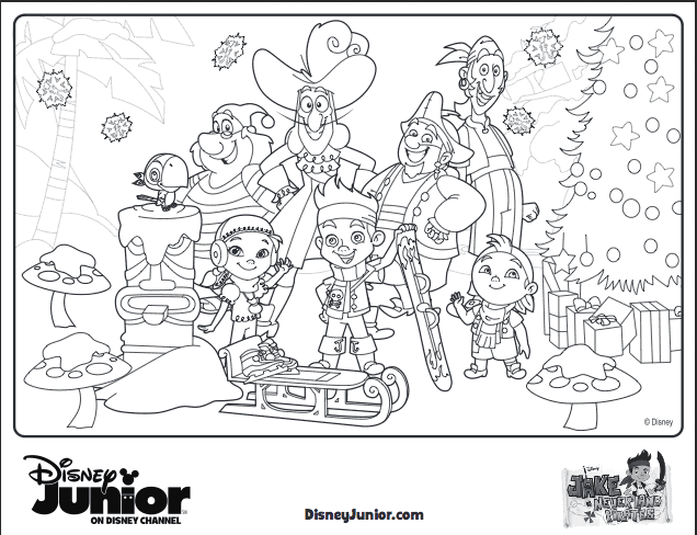 Jake and the Never land Pirates Christmas Coloring Sheet