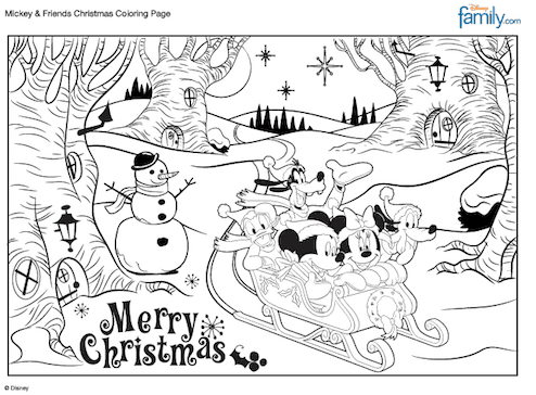 Merry Christmas Mickey Coloring Sheet from Family.go.com