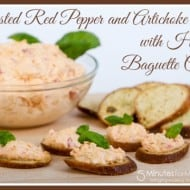 Roasted Red Pepper and Artichoke Dip with Herbed Baguette Crisps