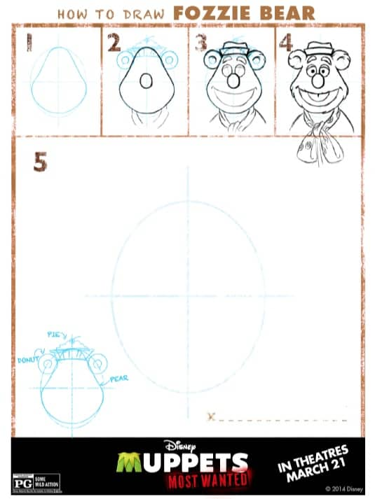 Muppets Most Wanted - How to Draw Fozzie Bear