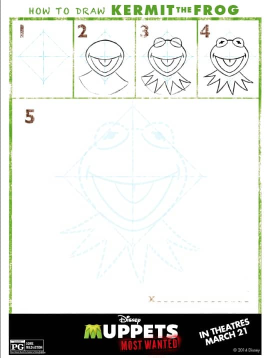 Muppets Most Wanted - How to Draw Kermit The Frog